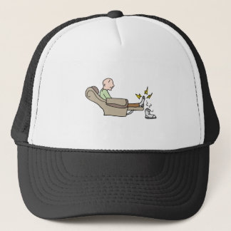 sore tired feet man trucker hat