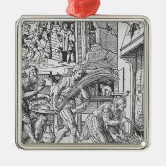 Sorgheloos que lleva una gavilla, 1541 adorno navideño cuadrado de metal