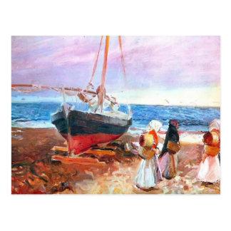 Sorolla-Fisherwomen de Joaquín en la playa, Valenc Tarjeta Postal