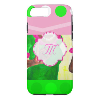 Sorority Life pink and green iPhone 8/7 Case