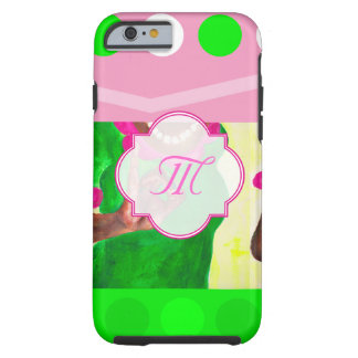 Sorority Life pink and green Tough iPhone 6 Case