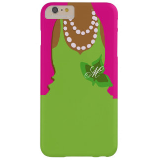 Sorority Life Pink Green Monogram Barely There iPhone 6 Plus Case
