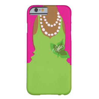 Sorority Life Pink Green Monogram Barely There iPhone 6 Case