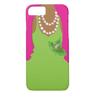 Sorority Life Pink Green Monogram iPhone 8/7 Case