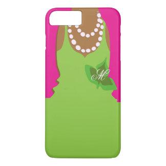 Sorority Life Pink Green Monogram iPhone 8 Plus/7 Plus Case