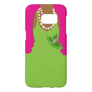 Sorority Life Pink Green Monogram Samsung Galaxy S7 Case