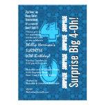 SORPRENDA 40.o V26 azul y blanco moderno del cumpl Invitaciones Personales