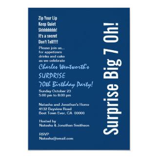 SORPRENDA 70.o azul moderno de la fiesta de Invitaciones Personales