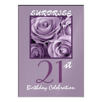 SORPRENDA a la 21ra fiesta de cumpleaños invitan a Invitación 12,7 X 17,8 Cm