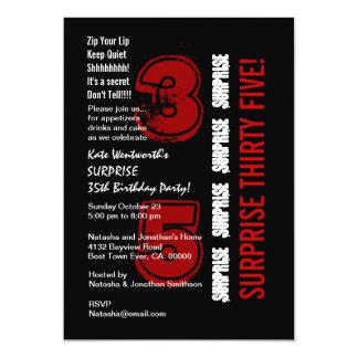 SORPRENDA blanco y negro rojo del 35to cumpleaños Comunicado Personal