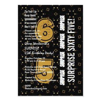 SORPRENDA el 65.o oro moderno del cumpleaños y Invitacion Personal