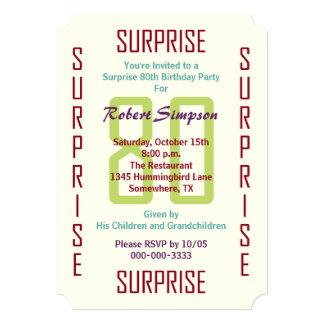 Sorprenda el 80.o boleto 80 de la invitación de la invitación 12,7 x 17,8 cm