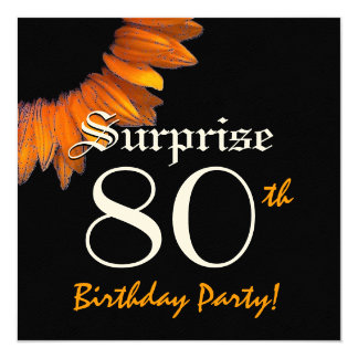 SORPRENDA el 80.o girasol del naranja de la fiesta Invitación 13,3 Cm X 13,3cm