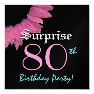 SORPRENDA el 80.o girasol del rosa de la fiesta de Invitación 13,3 Cm X 13,3cm
