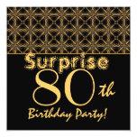 SORPRENDA el 80.o oro del cumpleaños y el vintage Invitación 13,3 Cm X 13,3cm
