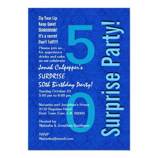 """SORPRENDA el azul real B400 del 50.o cumpleaños Invitación 5"""" X 7"""""""