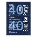 SORPRENDA el azul real moderno R602 del 40.o cumpl Invitacion Personal
