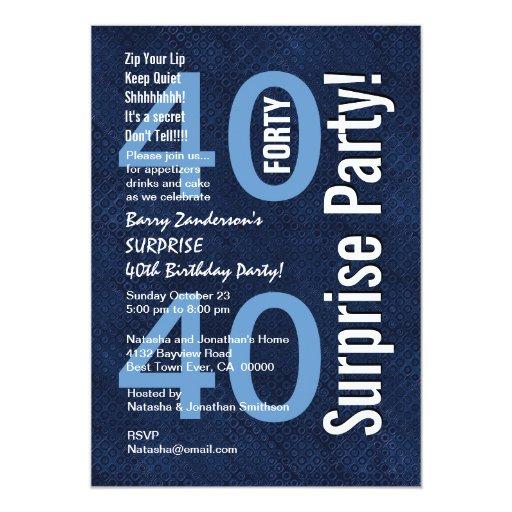"""SORPRENDA el azul real moderno R602 del 40.o Invitación 5"""" X 7"""""""
