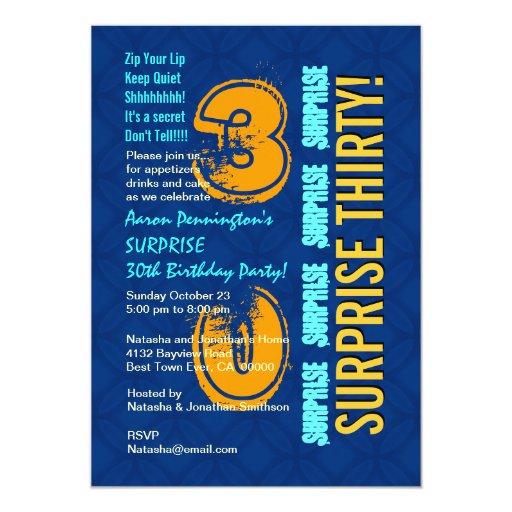 SORPRENDA el azul y el oro modernos F544 del Invitación 12,7 X 17,8 Cm