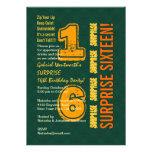 SORPRENDA el décimosexto verde y oro modernos W527 Invitacion Personal