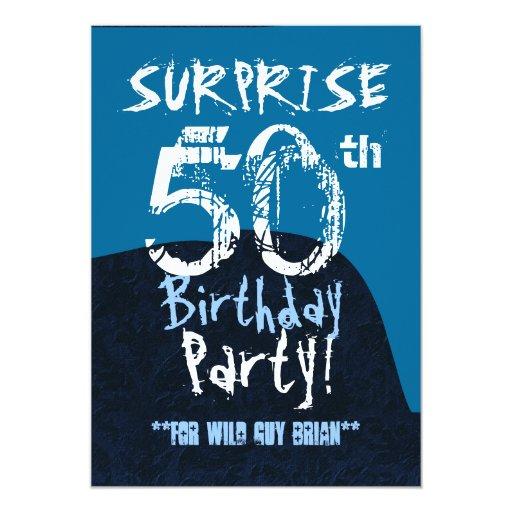 """SORPRENDA el Grunge azul del 50.o cumpleaños para Invitación 5"""" X 7"""""""