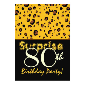 SORPRENDA el leopardo brillante del negro del oro Invitación 12,7 X 17,8 Cm