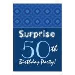 SORPRENDA el modelo azul del diamante del 50.o Invitaciones Personalizada