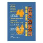 SORPRENDA el naranja azul del oro del 40.o cumplea Invitacion Personalizada