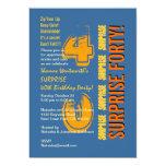 SORPRENDA el naranja azul del oro del 40.o Invitacion Personalizada
