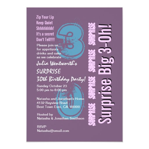 SORPRENDA el trigésimo cumpleaños moderno 111N Invitaciones Personales