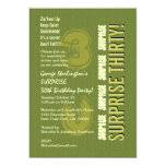 SORPRENDA el trigésimo ejército y el verde verde Invitación 12,7 X 17,8 Cm
