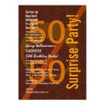 SORPRENDA la 50.a cremallera Brown del cumpleaños Comunicados Personalizados