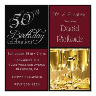 """Sorprenda la 50.a fiesta de cumpleaños Borgoña y Invitación 5.25"""" X 5.25"""""""