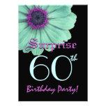 SORPRENDA la 60.a margarita de la púrpura del verd Invitación Personalizada