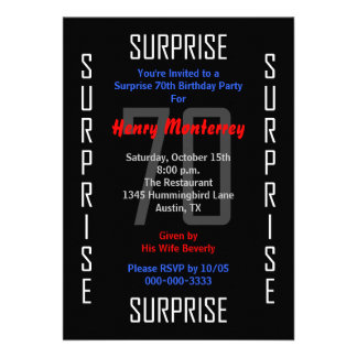 Sorprenda la 70 a invitación de la fiesta de