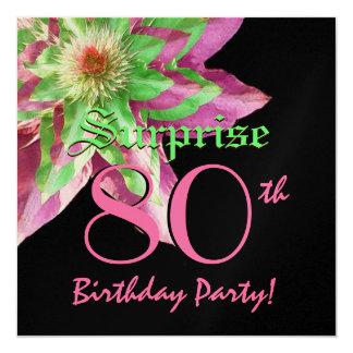 SORPRENDA la flor verde rosada W1445 del 80.o Invitación 13,3 Cm X 13,3cm
