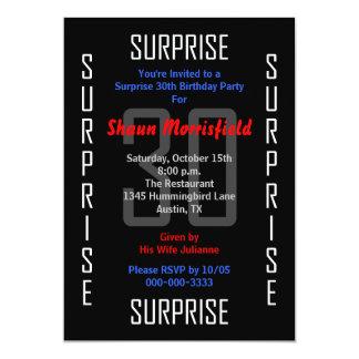 Sorprenda la trigésima invitación de la fiesta de invitación 12,7 x 17,8 cm