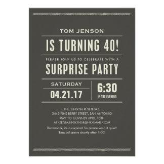 Sorprenda las 40 as invitaciones del cumpleaños