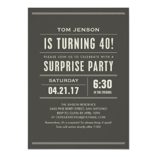 """Sorprenda las 40.as invitaciones del cumpleaños invitación 5"""" x 7"""""""
