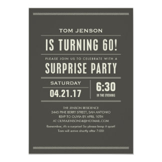 Sorprenda las 60.as invitaciones del cumpleaños invitación 12,7 x 17,8 cm