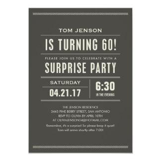 """Sorprenda las 60.as invitaciones del cumpleaños invitación 5"""" x 7"""""""
