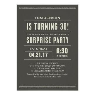 Sorprenda las trigésimas invitaciones del cumpleañ