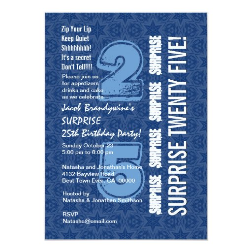SORPRENDA W544 azul del 25to cumpleaños y blanco Invitación 12,7 X 17,8 Cm