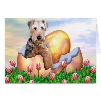 Sorpresa de Airedale Terrier Pascua Felicitacion
