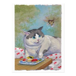 Sorpresa de la comida campestre del gato del sushi postales
