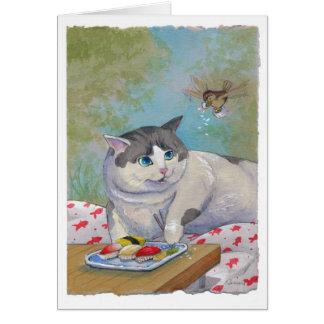 Sorpresa de la comida campestre del gato del sushi tarjeta de felicitación