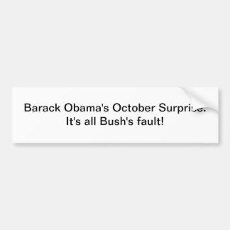 Sorpresa de octubre de Barack Obama Pegatina Para Auto
