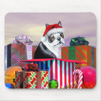 Sorpresa del navidad de Boston Terrier Tapete De Ratones