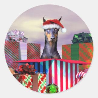 Sorpresa del navidad del Doberman Etiquetas Redondas