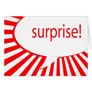 ¡sorpresa! fiesta: burbuja que habla tarjeta de felicitación